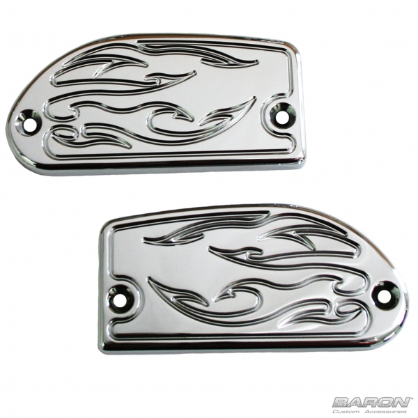 MASTER CYLINDER COVERS - FLAME, CHROME - Road/Stratoliner and Raider